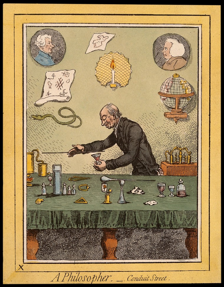 Adam Walker, a natural philosopher, performing scientific experiments. Coloured etching after J. Gillray, 1796
